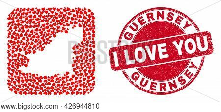 Vector Collage Guernsey Island Map Of Lovely Heart Items And Grunge Love Seal Stamp. Mosaic Geograph