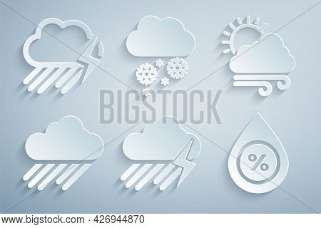 Set Cloud With Rain And Lightning, Windy Weather, Water Drop Percentage, Snow And Icon. Vector