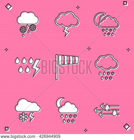 Set Cloud With Snow And Rain, Storm, Snow, Moon, Cone Windsock Wind Vane, Lightning And Icon. Vector