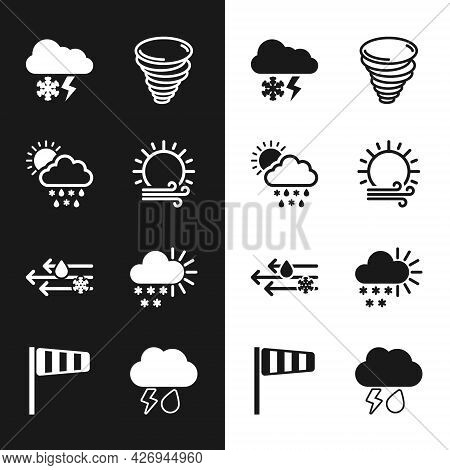Set Wind And Sun, Cloud With Snow, Rain, , Lightning, Tornado, Cloudy, And Cone Windsock Wind Vane I