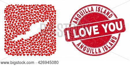 Vector Mosaic Anguilla Island Map Of Valentine Heart Elements And Grunge Love Seal. Mosaic Geographi