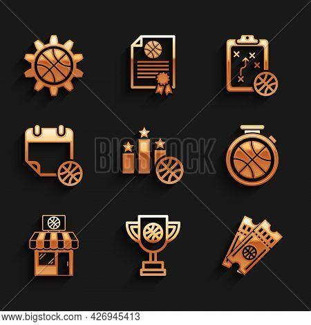 Set Sports Winner Podium, Award Cup With Basketball Ball, Basketball Game Ticket, Stopwatch, Shop An