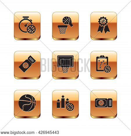 Set Stopwatch With Basketball Ball, Basketball, Sports Winner Podium, Backboard, Game Ticket, Award,