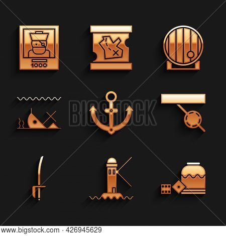 Set Anchor, Lighthouse, Pirate Game Dice, Eye Patch, Sword, Sunken Ship, Wooden Barrel And Wanted Po