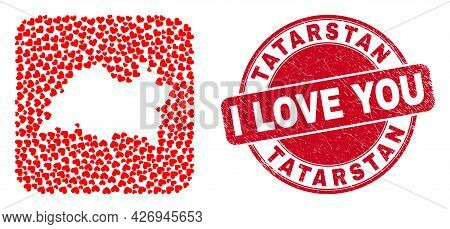 Vector Mosaic Tatarstan Map Of Love Heart Elements And Grunge Love Seal Stamp. Collage Geographic Ta