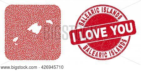 Vector Mosaic Balearic Islands Map Of Love Heart Elements And Grunge Love Stamp. Mosaic Geographic B