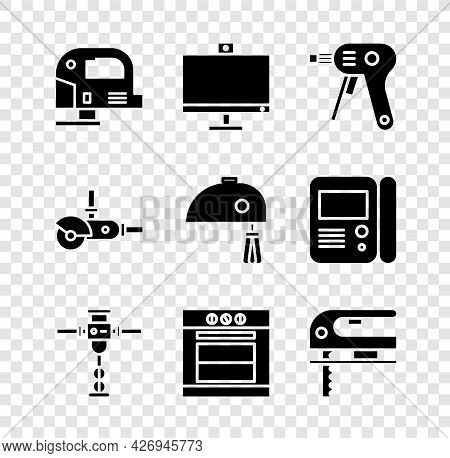 Set Electric Jigsaw, Computer Monitor, Hot Glue Gun, Construction Jackhammer, Oven And Icon. Vector