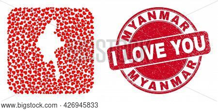 Vector Collage Myanmar Map Of Love Heart Items And Grunge Love Stamp. Collage Geographic Myanmar Map