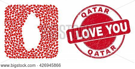 Vector Mosaic Qatar Map Of Lovely Heart Elements And Grunge Love Badge. Mosaic Geographic Qatar Map