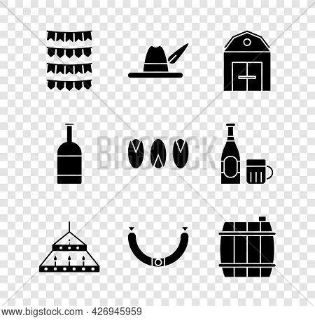 Set Carnival Garland With Flags, Oktoberfest Hat, Farm House, Massive Steel Chandelier, Sausage, Woo