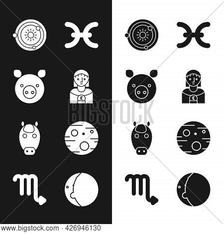 Set Astrology Woman, Pig Zodiac, Solar System, Pisces, Horse, Planet Mars, Eclipse Of The Sun And Sc