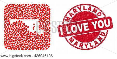 Vector Collage Maryland State Map Of Love Heart Elements And Grunge Love Seal Stamp. Collage Geograp