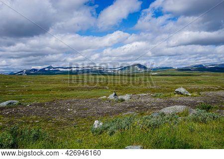 A View Of The Wild Tundra Landscape Ofthe Stekenkokk Plateau In Swedish Lappland