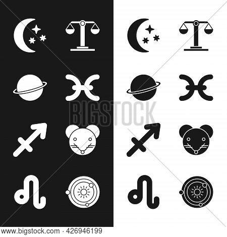 Set Pisces Zodiac, Planet Saturn, Moon And Stars, Libra, Sagittarius, Rat, Solar System And Leo Icon