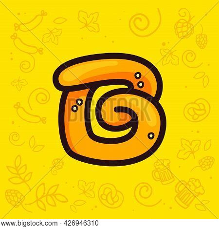 Letter B Logo Made Of Pretzel. Hand-drawn With Oktoberfest Pattern On Background. Perfect To Use In