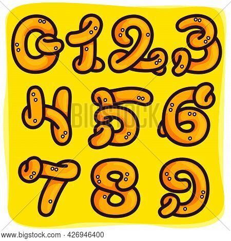 Numbers Set Made Of Pretzel. Hand-drawn With Oktoberfest Pattern On Background. Perfect To Use In An