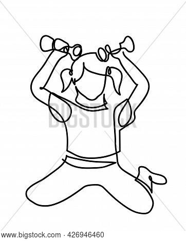 One Line Drawing Of  Active Young Girl Exercising Isolated On White One Continuous Line Drawing Of