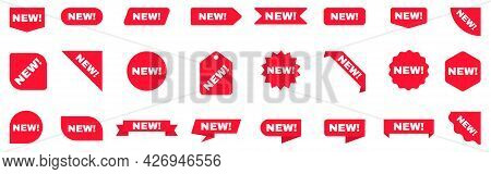 New Sticker Set. Sale Ribbons Collection. New Labels On White Background. Arrival Tags Template. Red