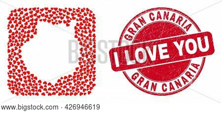 Vector Mosaic Gran Canaria Map Of Love Heart Elements And Grunge Love Seal Stamp. Mosaic Geographic