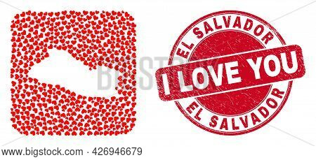 Vector Mosaic El Salvador Map Of Love Heart Items And Grunge Love Seal Stamp. Mosaic Geographic El S