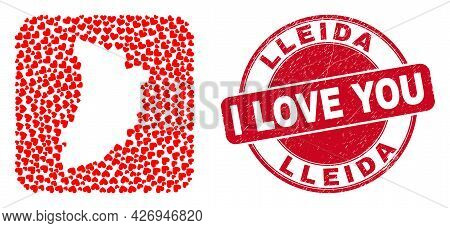 Vector Collage Lleida Province Map Of Valentine Heart Elements And Grunge Love Badge. Collage Geogra