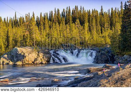 View Of The Litsjoforsen Waterfall In Northern Sweden
