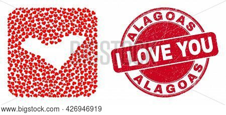 Vector Mosaic Alagoas State Map Of Love Heart Elements And Grunge Love Stamp. Collage Geographic Ala