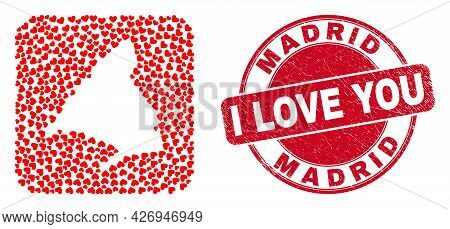 Vector Collage Madrid Province Map Of Love Heart Items And Grunge Love Seal. Collage Geographic Madr