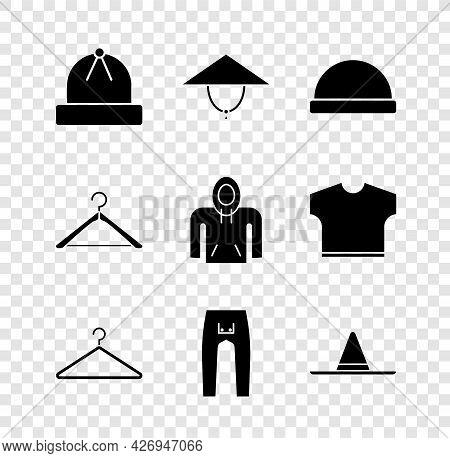 Set Winter Hat, Asian Conical, Beanie, Hanger Wardrobe, Pants, Gardener Worker, And Hoodie Icon. Vec