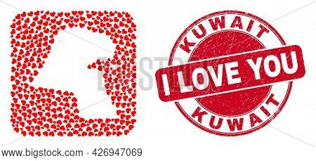 Vector Mosaic Kuwait Map Of Love Heart Elements And Grunge Love Seal Stamp. Mosaic Geographic Kuwait