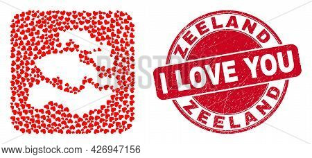 Vector Collage Zeeland Province Map Of Love Heart Items And Grunge Love Seal. Collage Geographic Zee