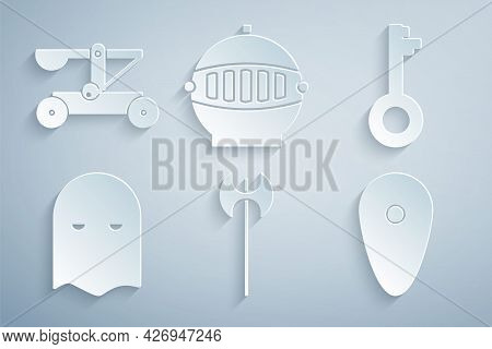 Set Medieval Axe, Old Key, Executioner Mask, Shield, Iron Helmet And Catapult Shooting Stones Icon.