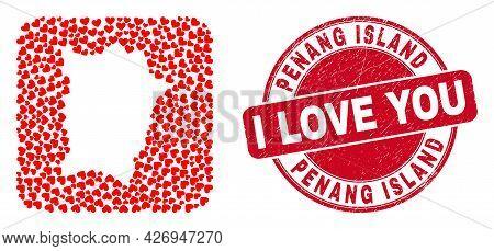 Vector Mosaic Penang Island Map Of Love Heart Items And Grunge Love Badge. Mosaic Geographic Penang