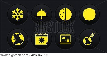 Set Earth Globe, Moon, Calendar And Sun, Weather Forecast, Eclipse Of, Sunset, Comet Falling Down Fa