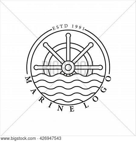 Nautical Logo Line Art Vector Minimalist Simple Template Icon Illustration Design. Ship Steering Whe