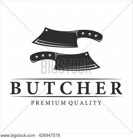 Butchery Logo Vintage Vector Illustration Template Design. Retro Butcher Shop Label Concept With Two