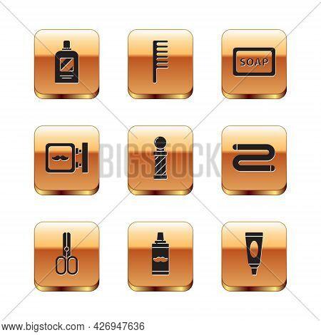Set Bottle Of Shampoo, Scissors Hairdresser, Shaving Gel Foam, Classic Barber Shop Pole, Barbershop,
