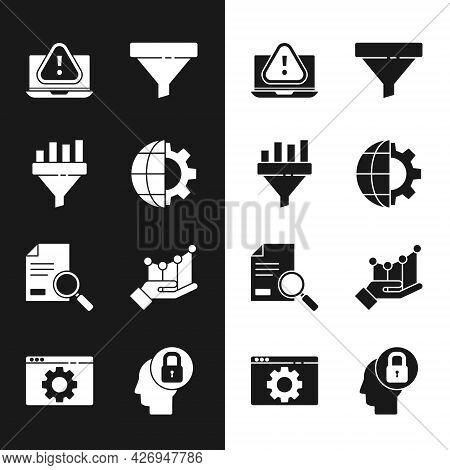 Set Globe Of The Earth And Gear, Sales Funnel With Chart, Laptop Exclamation Mark, Document Search,