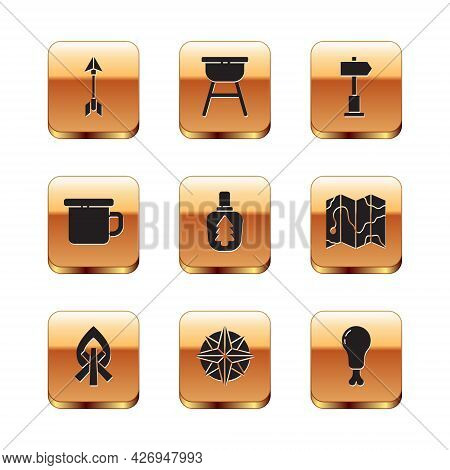 Set Hipster Arrow, Campfire, Wind Rose, Canteen Water Bottle, Camping Metal Mug, Road Traffic Signpo