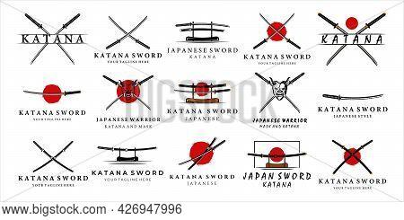 Set Of Katana Sword Logo Vintage Vector Illustration Concept Template Icon Design. Bundle Collection
