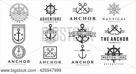 Set Of Nautical Or Marine Logo Vector Illustration Template Icon Design. Bundle Collection Of Variou