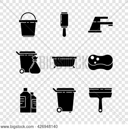 Set Bucket, Adhesive Roller, Water Tap, Bottles For Cleaning Agent, Trash Can, Rubber Cleaner Window