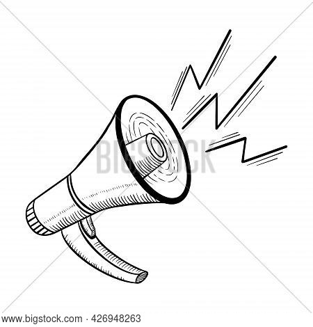 Loudspeaker Sketch On White Background. Doodle Megaphone Isolated With Shout. Vector Illustration.