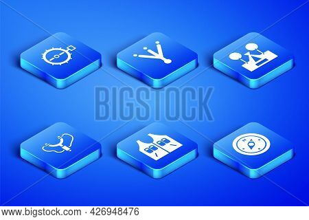 Set Compass, Trap Hunting, Hunting Jacket, Slingshot, Bird Footprint And Tourist Tent Icon. Vector