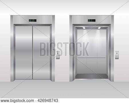 Elevator Doors Vector Illustration, Cartoon Flat Empty Modern Office Or Hotel Building Interior, Rea