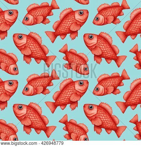 Watercolor Rose Fish, Ocean Perch Seamless Pattern. Hand Drawn Rockfish, Red Snapper. Underwater Ani