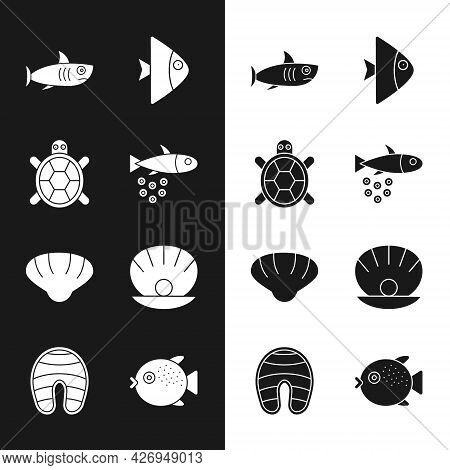 Set Fish With Caviar, Turtle, Shark, Scallop Sea Shell, Shell Pearl, Puffer Fish And Steak Icon. Vec