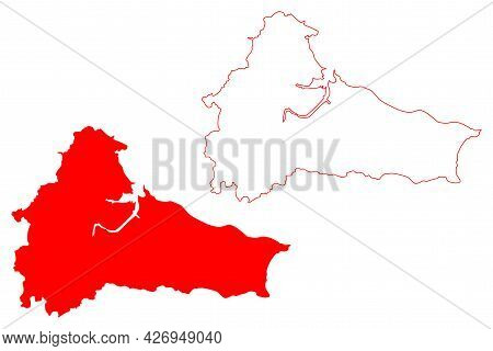 Cleveland County (united Kingdom, Ceremonial County Of England) Map Vector Illustration, Scribble Sk