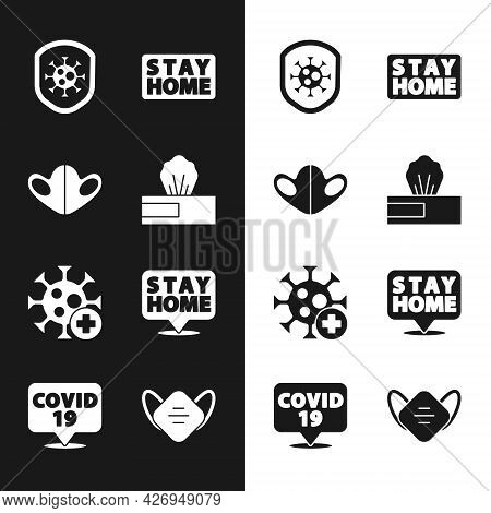Set Wet Wipe Pack, Medical Protective Mask, Shield Protecting From Virus, Stay Home, Positive, And C