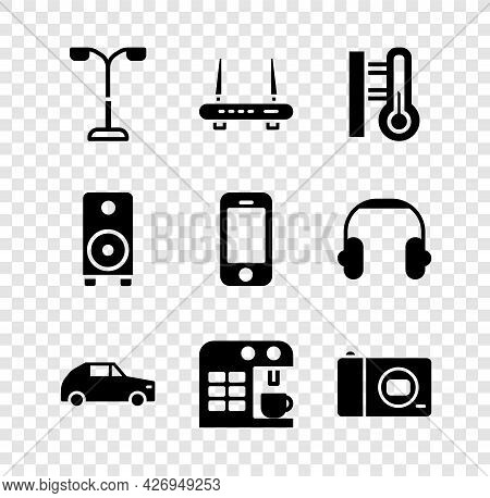 Set Street Light, Router And Wi-fi Signal, Meteorology Thermometer, Car, Coffee Machine, Photo Camer
